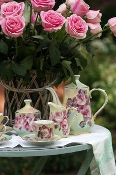 Tea with roses; the perfect little quick and casual tablescape for teatime, in the porch or garden.