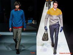 Tendencias hombre otoño/invierno 13/14 color block: Prada y Emporio Armani.