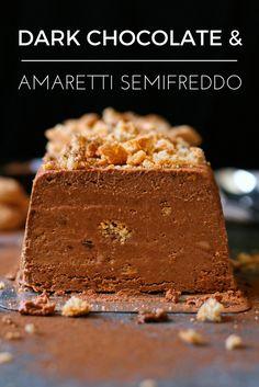 For dessert lovers - creamy dark chocolate semifreddo dotted with crunchy amaretti biscuits.