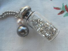Vintage German Glass glitter treasure bottle