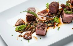 Chargrilled Gressingham duck breast with spring onion, pickled shiitake mushrooms, garden herbs and soy reduction Carb Free Dinners, Duck Breast Recipe, Duck Recipes, Rabbit Recipes, Egg Recipes, Chicken Recipes, Recipies, Great British Chefs, Meat Appetizers