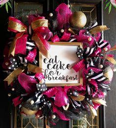 Kate Spade themed wreath Christmas Bows, Christmas Time, Preppy Christmas, Christmas Decorations, Holiday Decor, Kate Spade Party, Kate Spade Bridal, Black Wreath, Gold Wreath