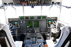 the cockpit of the new C-130J Hercules