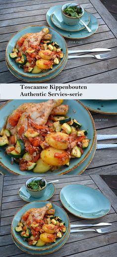 Toscaanse Kippenbouten geserveerd op het Authentic Servies #recept #kip #servies