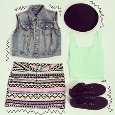 Sleeveless jean jacket, colorful print dress  Trendiy Art look
