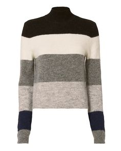 Equipment Ren Stripe Sweater: A stripey knit sweater with a mock neckline and long sleeves. In grey/black/ivory. Fabric: 50% alpaca/48% nylon/2% spandex Imported.    Model Measurements: Height 5'8.5 ; Waist 24 ; Bust 33 wearing size S Length from shoulder to hem: 20 ...