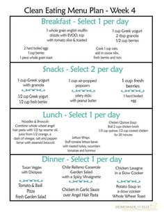 A printable clean eating meal plan for an entire week's worth of clean eating breakfasts, lunches, dinners and snacks. Print and eat clean :)