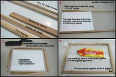 Photo frame - Learn how to make one Diy Arts And Crafts, Home Crafts, How To Make Photo, Custom Photo Frames, Small Picture Frames, Diy Projects To Try, Craft Projects, Crafty Craft, Diy Photo