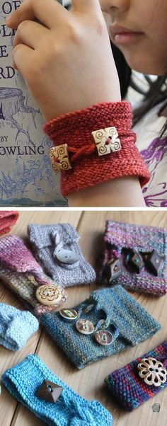 Free Knitting Pattern for Pretty Twisted Cuff - This trio of linen stitch bracelets is perfect use for scrap yarn and handmade buttons. Each of the three versions has slightly different design details – slipped st edging or not, worked horizontally or vertically, different types of attachment options – to produce different results, and to keep the knitting interesting. Designed by Cat Wong for Knitty