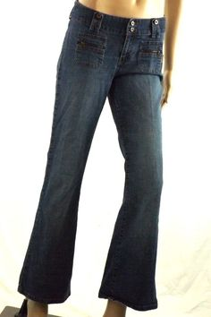 Billabong Juniors Sz 7 (30x29) Med. Wash Blue Jeans Stretch  Flare Leg Low rise  #Billabong #Flare