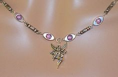 Fairy Charm Necklace and Pink Glass Beads Encased by MyJannyMarie, $34.00