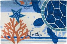 "Coastal modern beach house style! Ocean blues and coral red medallions accented by a blue sea turtle make up this 22"" X 34"""" indoor outdoor mat."