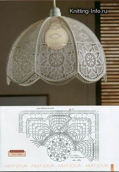 crochet lamp shade with diagram.other lamp shade pics, for crochet inspiration ONLY. Crochet Motifs, Crochet Diagram, Crochet Chart, Crochet Squares, Filet Crochet, Crochet Doilies, Crochet Lace, Crochet Stitches, Crochet Patterns