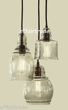 Pottery Barn Paxton Glass 3 Light Pendant Chandelier New 2 Available | eBay