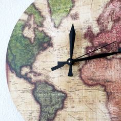 Map Wall Clock Decor and Housewares Wall Clock Home by Shannybeebo