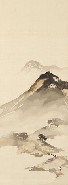 Mountain Landscape with Bridge by Odake Chikuha, 1878-1936 尾竹竹坡 Japan
