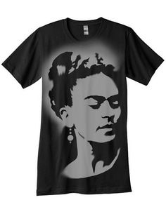 Frida Kahlo tshirt airbrushed with stencils by nietoair on Etsy, $23.00