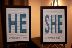 Put the reasons why you love each other on display. After the wedding, hang these in your bedroom for a daily reminder of your love for each other.