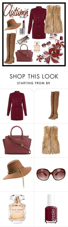 """Untitled #85"" by maca-r-94 ❤ liked on Polyvore featuring Cameo Rose, Topshop, MICHAEL Michael Kors, Fendi, Maison Michel, Oliver Peoples, Elie Saab, Essie and Clinique"
