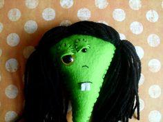 Zombie Monster Art Doll Girl Horror Sci Fi Figurine Miniature ooak Halloween Green Purple Walking Dead Plush Soft Rag Ugly Cute on Etsy, $18.00