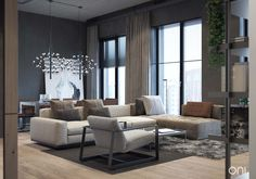 This metropolitan loft in Moscow, Russia is an amalgamation of modern styles by ONI Architects. The homes backdrop has an industrial style vibe, tying in with t
