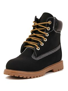 Boots I LOVE! Black Lace Up Ankle Hiking Boots | Choies #Black #Hiking #Boots #Fall #Winter #Fashion