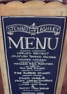 Pretty chalkboard menu! Photo by Sarah Kate, Photographer. #wedding #menu #chalkboard #sign