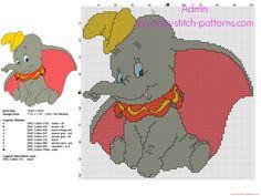 Disney Dumbo flying elephant cross stitch pattern 100 x 100 stitches 9 DMC threads