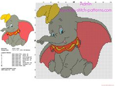 Disney Dumbo flying elephant cross stitch pattern 100 x 100 stitches 9 DMC threads