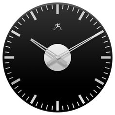 Black Night Mirrored Open Face Wall Clock | Overstock.com