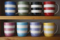 Cornishware coloured mugs