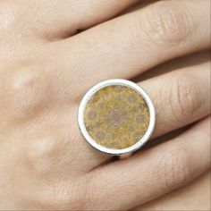 Bohemian Lace Print in Gold Ring - antique gifts stylish cool diy custom