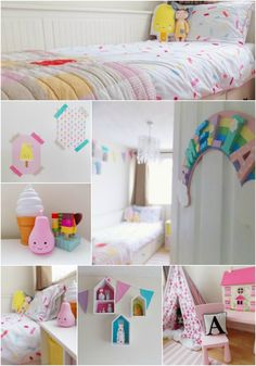 Ice Cream Dreams and Rainbow girls bedroom. Sprinkles bedding, town house shelves, teepee tent and ice cream lights!