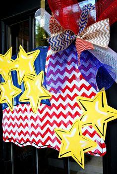 Fourth of July Door Hanger Patriotic Wreath by LooLeighsCharm, $45.00