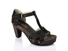 SOFTCLOX Fabiola Barock schwarz  #summer #spring #summershoes #springshoes #softclox #soft #clogs #shoes #black #woddensole