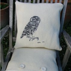 embroidered owl pillow