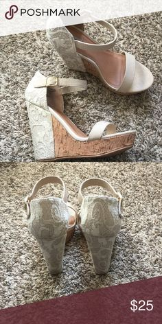 "Lace cork wedges, cream, size 7.5 Not Rated brand cream and cork, crochet lace wedges. Size 7.5. Surprisingly light and easy to walk in. Heel is about 5"" Not Rated Shoes Wedges"