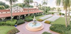 """The Plaza de la Fontana at Mission Inn is a Spanish-inspired courtyard, conveniently located within the resort and the perfect location for saying """"I do. Waterfront Wedding, Hotel Wedding, Wedding Ceremony, Garden Wedding, Summer Wedding, Mission Inn, Spanish Architecture, Outdoor Ceremony, Plaza"""