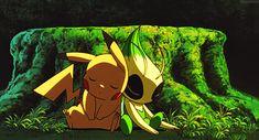 Pikachu & Celebi are so cute together :3