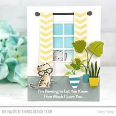 Card Kit, I Card, Cat Plants, Paper Crafts, Diy Crafts, Mft Stamps, Cat Cards, Animal Cards, Pattern Paper
