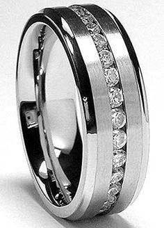 7MM Eternity Titanium Ring Wedding Band with Cubic Zirconia CZ