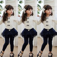 Autumn Princess Baby Kid Girls Bow Tie Lace Long Sleeve Blouse Tops