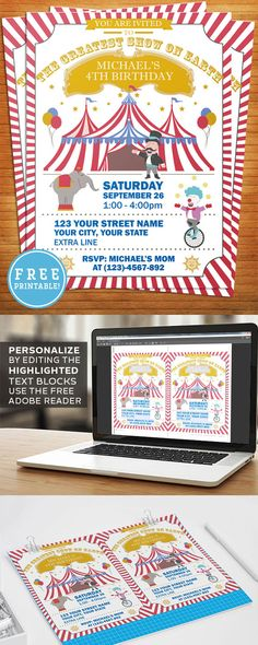 How to create a fun Circus or Carnival themed party invitation f you are you having a circus or carnival themed party and looking for an invitations that fits your theme? This cool and free printable invitation is fully editable. Carnival Birthday Invitations, 18th Birthday Party Themes, Circus 1st Birthdays, Carnival Themed Party, Carnival Themes, Carnival Makeup, Carnival Ideas, 5th Birthday, Birthday Ideas