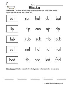 Free printable rhyming activities for kindergarten 3 letter words are same and different worksheets high school Worksheets For Class 1, English Worksheets For Kids, First Grade Worksheets, Reading Worksheets, Kindergarten Worksheets, Grammar Worksheets, Lkg Worksheets, Matching Worksheets, Homeschool Kindergarten