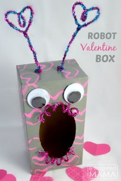 How to make DIY Valentines boxes and Valentine holders with your kids for home or school. These creative DIY Valentine Boxes include a robot, a fox, Homemade Valentine Boxes, Valentine Boxes For School, Kinder Valentines, Valentines Day Activities, Valentines Day Party, Valentine Day Crafts, Valentine Ideas, Printable Valentine, Valentine Wreath