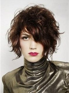Glossy Flawless Casual Short Wavy Hairstyle 100% Real Human Hair Wig About 10 Inches