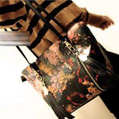 Promotiona Black Vintage Flower Painting Pattern Pu Leather Shoulder bags:Asujewelry.com