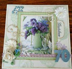 Vintage card lilacs congrats