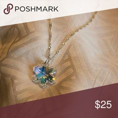 """Swarovski Crystal Ab Snowflake Necklace 18/19"""" New Swarovski Crystal Ab Snowflake Necklace 18/19"""". New. Comes with an one inch extender chain which gives you the option to adjust to that perfect length. Leaded glass crystal finish. Jewelry Necklaces"""