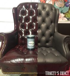 Paint leather couch - How to Paint a Leather Chair Paint Leather Couch, Grey Leather Chair, Leather Furniture, How To Paint Leather, Old Chairs, Vintage Chairs, White Chairs, Dining Chairs, Folding Chairs